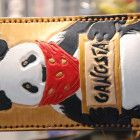IPhone veg tan leather sleeve, natural leather panda, Slim leather phone case, panda gangsta