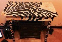 Tavolino zebrato / Tavolino zebrato ricavato da un pallet e dipinto a mano
