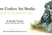 """Anne Corless Art Studio Shop / Anne Corless draws and paints art of the natural world using a variety of traditional media.  Her unique artwork ranges from pencil and charcoal studies to delicate watercolours and oil paintings that have both subtlety and strength of colour.  Anne works from her own reference; sketches, photographs, memory and imagination.  Favouring realism in her artwork, Anne says: """"If a painting across the studio looks as if it could come to life, then it is beginning to work!"""""""