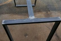 wood iron table