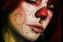 sugar skull girl and realistic faces