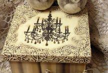 Decoupage -furniture-suitcase -flower pots