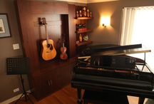 Music Room Inspirations / Ideas to turn an unused living room into a functional music rrom