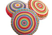crochet floor cushions/ pouffs/ foot stools/cushions