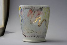 Porcelain, wheel thrown-hand painted mug, aprox 8,10oz. With 23k gold details.