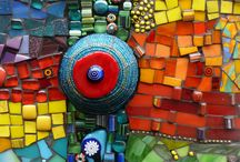 "mosaic "" my Dreams"" 20 by 20 boards / Mosaics made on a 20 by 20  board , bold and bright .."