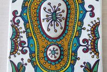 Pebbles on canvas / Handpainted decorative patterns with beach pebbles from Greek beaches.