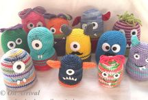 "Mugly Monsters / Most monsters are mean & ugly (hence the name ""Mugly"", but these monsters are seriously fun, squish-able happy creatures.  Hand crochet from wool & acrylic with safety eyes each one is unique and will make the perfect companion for all ages.  Range in price from NZ$12 - NZ$25 https://www.facebook.com/0narrival"