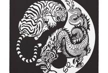 Tatuagens de tigre e dragao