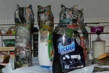 Katten van papier mache / Van een lege wasmiddelfles kan je kunst maken!