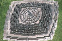 Topview photos of Buddhist sites