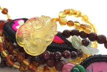 Kids Beaded Rainbow Amber Necklace with Engraved RuYi Amber Pendant / kids necklace