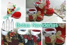 botas navideñas botellas