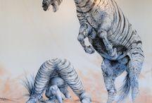 "THIERRY LODZIAK / PEINTURE SUR DRAP DE LIN                                                                   350 x 200 cm                                                                                                 "" Zébre et Zébrule """