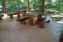 mesa y bancos / mesa y bancos de madera de suart  Diseño, producción y fabricación exclusiva y ecológica por www.comprarenbali.com
