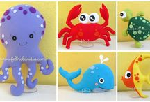 animali marini di feltro