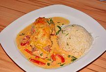 Paprika sahne Hühnchen mit Reis