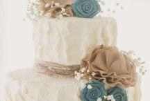 Burlap Rustic Wedding Cake