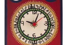 Square Warli Painted Red Table Clock ( 5 Inch )