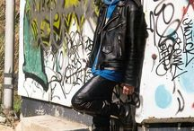 Men and boys in leather and rubber