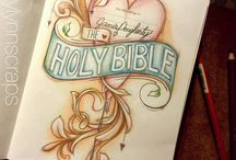 Unfiled--Bible Journaling by Book / Examples of Bible Journals including introductory pages, pages with unclear passages, etc