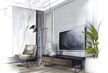 Interior sketch n rendering