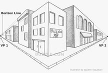 Point perspective / Step by step descriptions on how to draw point perspective art