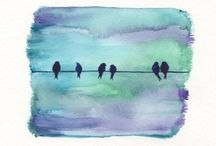 Water colour birds painting