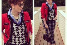 Prints Charming / Chicos top and jacket Express vest Jcpenney pants  Dsw pumps  Print mix Fall fashion Style