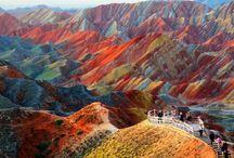 Montanhas coloridas da China Parque Geológico Zhangye Danxia