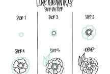 Botanical line drawings