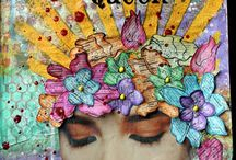 Mon journal créatif  et autres projets Mixed Media / My Art Journal and MM projects