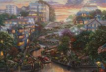 Cityscapes Art / Masterpieces of art by famous painter Thomas Kinkade