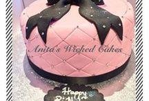 Pink diamantie cake with black bow