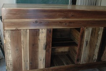 ENTERTAINMENT CENTER / made with reclaimed redwood fencing boards, pallets and other leftover lumber.