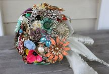 Brooch and fabric bouquet