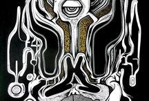 NIEBIESKI ROBI KRESKI / Twórca obrazów, który maluje niezwyczajne twory, maszkary, potwory, bestie oraz szalone monstra. Maluje w domu na ulicy czasem również na skórze ludzkiej. Często jego kreski powstają szybko, dynamicznie i w spontaniczny sposób. Zajmuje się również grafiką ale najbardziej lubuje się w malarstwie ściennym.