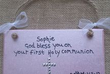 Christenings & First Holy Communion / Personalised hearts and Plaque suggestions