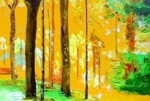 Peintures toiles au couteau / Ce tableau contient des peintures à l'huile au couteau