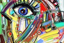 Peintures numériques, illustration vectorielle
