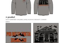 Halloween / Greek sorority and fraternity custom shirt designs featuring Halloween themes. For more information on screen printing or to get a proof for your next shirt order, visit www.jcgapparel.com
