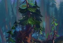 Illustrated tree houses