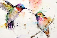 arte acuarela colibrí
