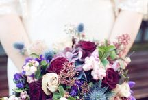 Red and purple bouquets