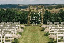 Wedding / Creekside ceremony + canapes on the lawn + American barn shed reception