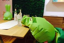 Green house / Green bean bags and home decor.