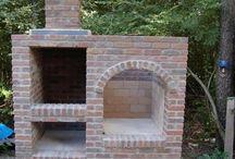 Tegelstenar grill mur