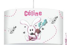 Lampes personnalisées pour décoration chambre d'enfants / Lampes suspensions et lampe de décoration personnalisées avec prénom pour décorer la chambre des enfants. Modèles dessinés puis fabriqués à l'unité.