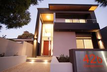 Finished modern narrow lot home Perth / We love our clients use of materials and colours in this home.     ( NHBB Company colours) The water feature is outstanding and so simple.