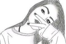 Fekete fehér lányos rajzok❤